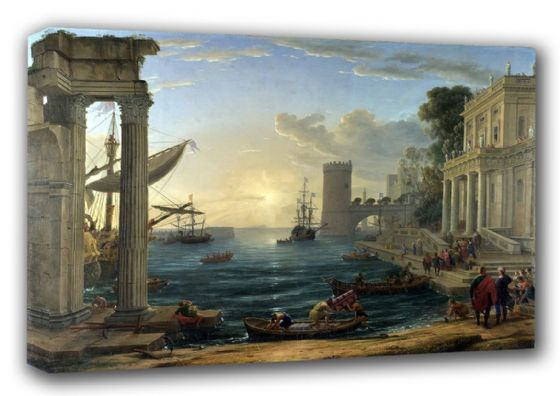 Lorrain, Claude: Seaport with the Embarkation of the Queen of Sheba. Fine Art Canvas. Sizes: A3/A2/A1 (00599)